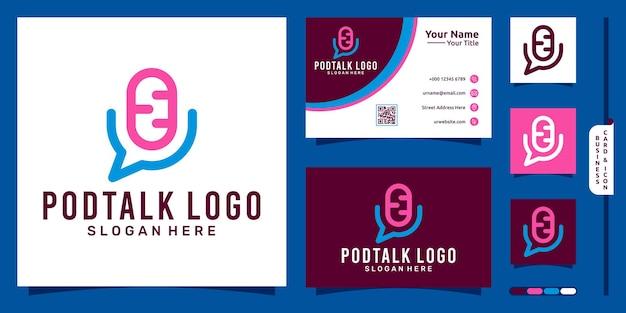 Logotipo de podcast con concepto moderno de burbuja de chat y diseño de tarjeta de visita vector premium