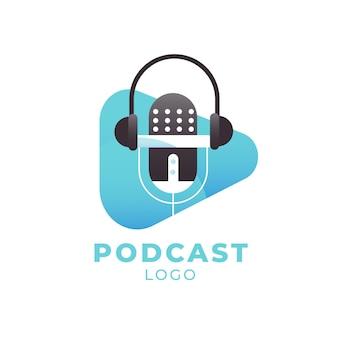 Logotipo de podcast detallado con auriculares