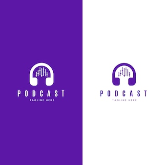 Logotipo de podcast detallado sobre fondo blanco y violeta