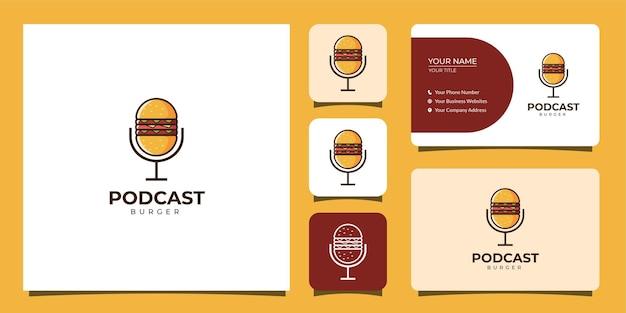 Logotipo de podcast y hamburguesa con plantilla de tarjeta de visita