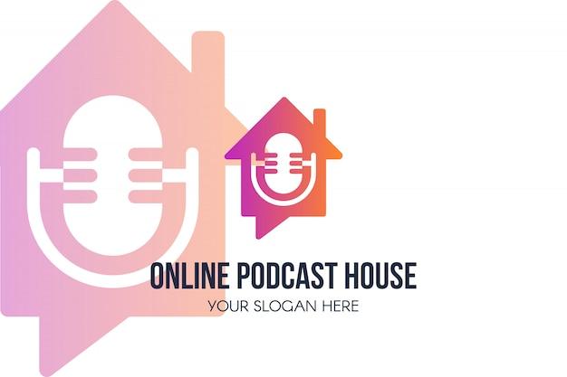 Logotipo de podcast house en línea