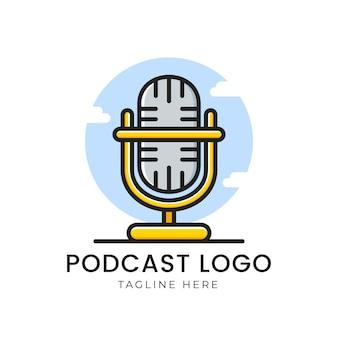Logotipo de podcast con micrófono