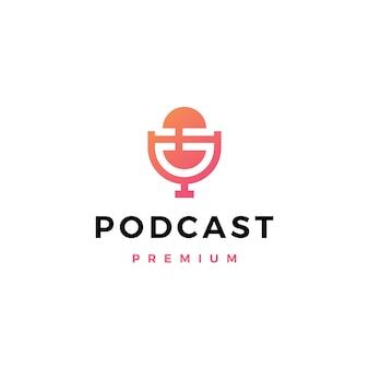 Logotipo de podcast de micrófono