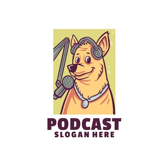 Logotipo de podcast de perro aislado en blanco