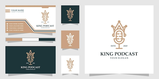 Logotipo de podcast de rey creativo