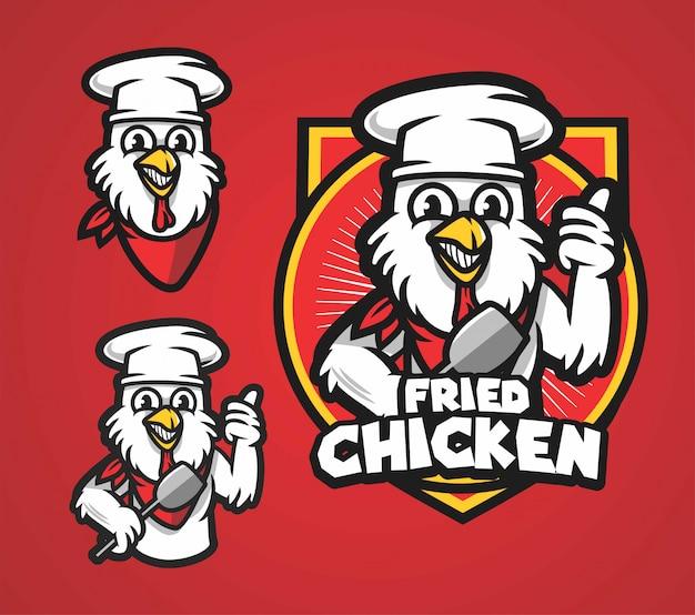 Logotipo de pollo frito mascota