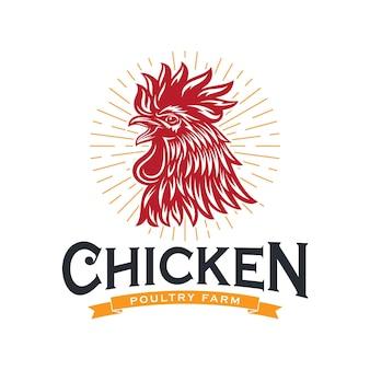 Logotipo de pollo gallo vintage