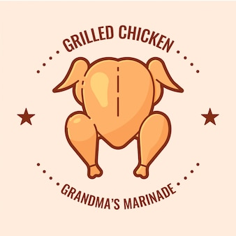 Logotipo de pollo a la parrilla