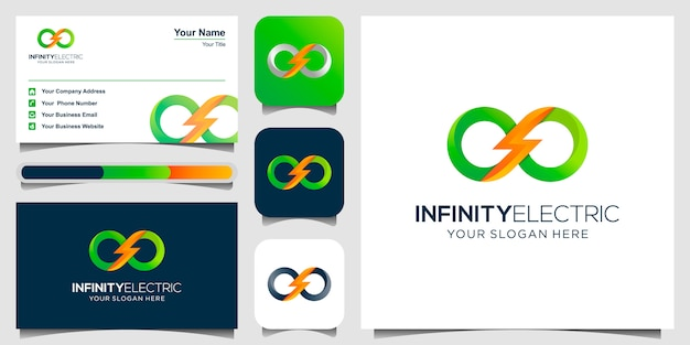 Logotipo de power infinite energy y tarjeta de visita