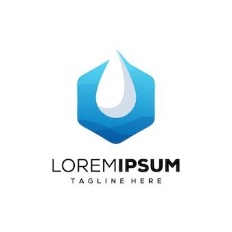 Logotipo premium de agua y hexágono