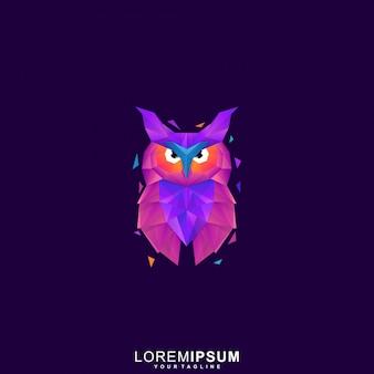 Logotipo premium de búho poligonal