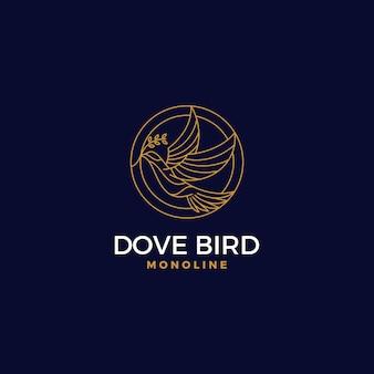 Logotipo premium círculo paloma estilo monoline