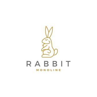 Logotipo premium de conejo monoline