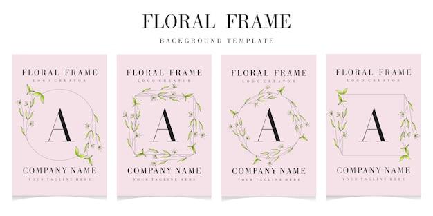 Logotipo premium de la letra a con plantilla de marco floral