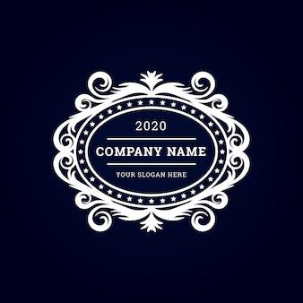 Logotipo premium de lujo vintage con marco decorativo