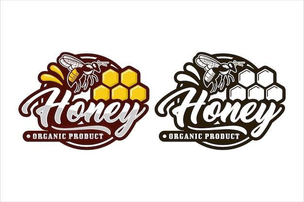 Logotipo de producto orgánico de abeja de miel