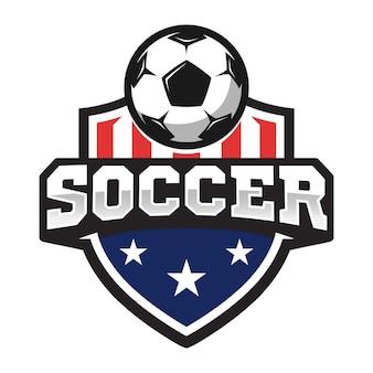 Logotipo profesional de fútbol en estilo plano, balón de fútbol y escudo con estrellas.