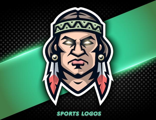 Logotipo profesional indio americano, icono guerrero enojado. mascota deportiva, etiqueta e-sports.