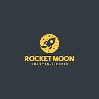 Logotipo profesional de la luna del cohete