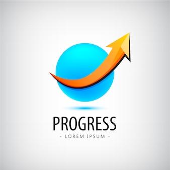 Logotipo de progreso, logotipo de crecimiento, logotipo de éxito financiero y empresarial, icono, logotipo de flecha hacia arriba, esfera, 3d, identidad, logotipo web, éxito profesional