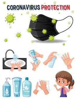 Logotipo de protección de coronavirus con manos usando producto desinfectante