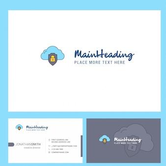 Logotipo protegido en la nube con lema y plantilla de tarjeta busienss frontal y posterior.