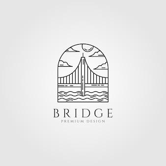 Logotipo de puente diseño de arte de línea mínima