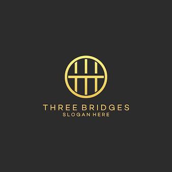 Logotipo de puente de línea moderna de arte