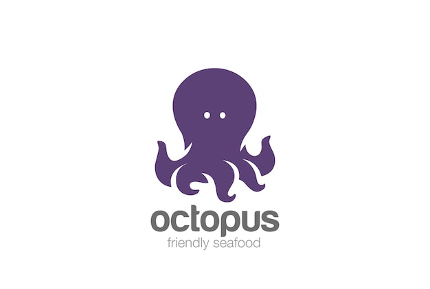 Logotipo de pulpo divertido y amistoso.
