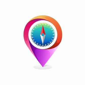Logotipo de puntero de mapa con concepto de brújula