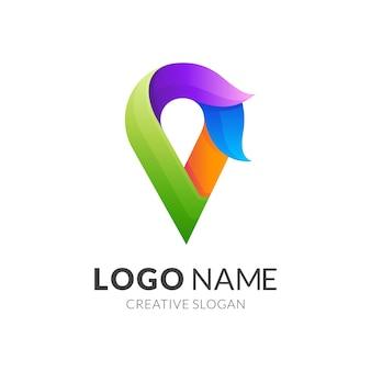 Logotipo de punto de fuego, pin y fuego, logotipo de combinación con estilo colorido 3d