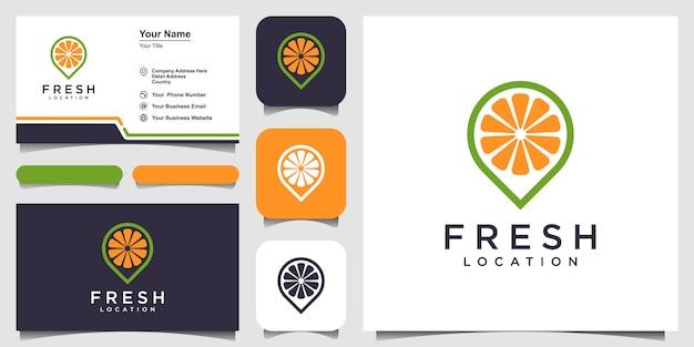 Logotipo de punto de jugo de naranja, vector de logotipo de comida y restaurante de ubicación de jugo y tarjeta de visita
