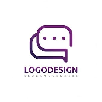 Logotipo púrpura con burbujas de chat
