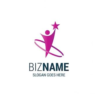 Logotipo púrpura con una forma humana y una estrella