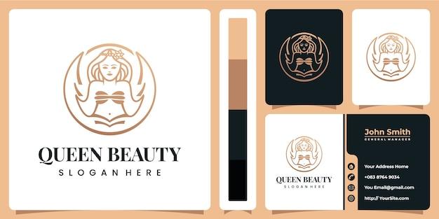 Logotipo de queen beauty de lujo con plantilla de tarjeta de visita