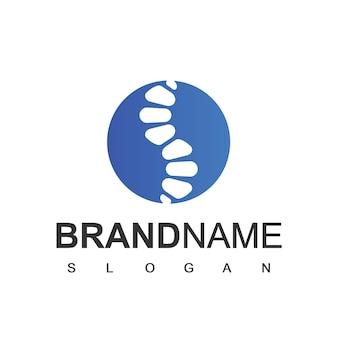 Logotipo de quiropráctica con símbolo de hueso