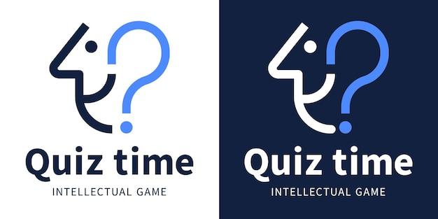 Logotipo de quiz time para el juego intelectual y el cuestionario