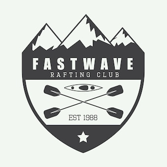 Logotipo de rafting, etiqueta