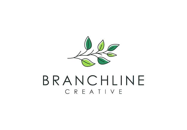 Logotipo de rama de árbol y hojas, natural