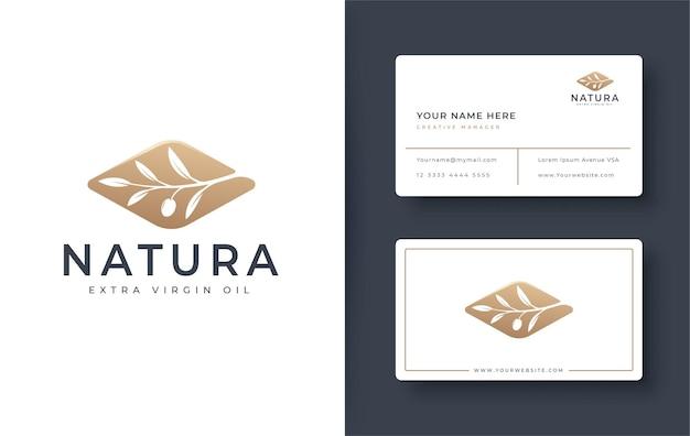 Logotipo de rama de olivo dorado y diseño de tarjeta de visita