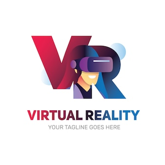 Logotipo de realidad virtual vr con forma de mujer en el interior usando una caja de realidad virtual