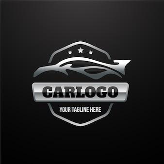 Logotipo realista del coche metálico