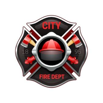 Logotipo realista de la organización del departamento de bomberos de la ciudad