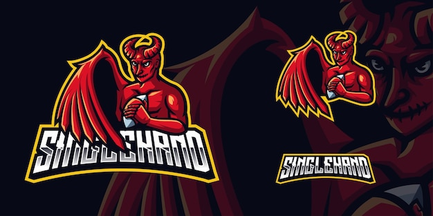 Logotipo de red devil gaming mascot para esports streamer y community