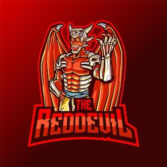 Logotipo de red devil mascot para esport y deporte