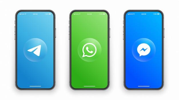 Logotipo de redes sociales en la pantalla del teléfono