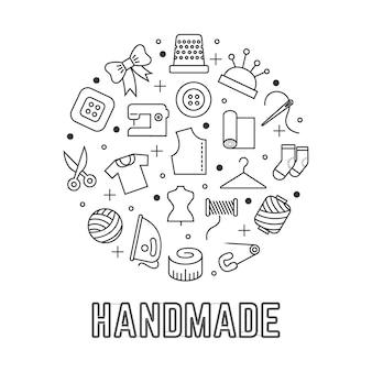 Logotipo redondo hecho a mano con iconos lineales de costura taylor aislados sobre fondo blanco