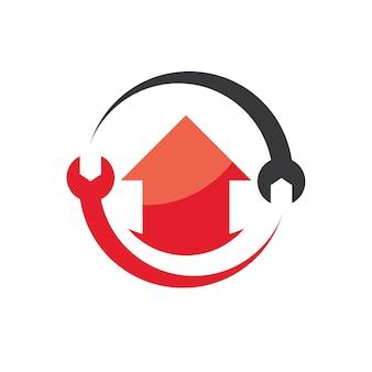 Logotipo de reparación de viviendas con símbolo de llave circular