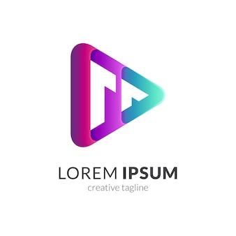 Logotipo de reproducción multimedia letra m