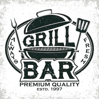 Logotipo de restaurante barbacoa vintage